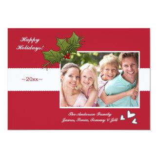Cartão com fotos festivo do feriado da estação convite 12.7 x 17.78cm