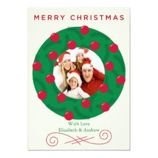 Cartão com fotos festivo do feriado da grinalda do convite personalizados