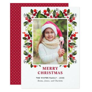 Cartão Cartão com fotos floral da aguarela do Natal |