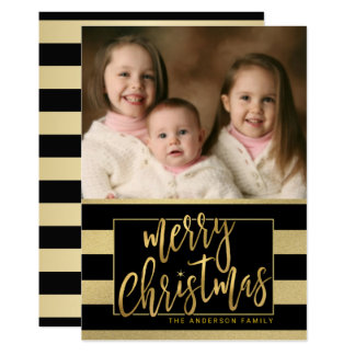 Cartão com fotos liso listrado da folha de ouro do convite 12.7 x 17.78cm