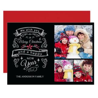Cartão com fotos moderno do Feliz Natal 3 da Convite 12.7 X 17.78cm