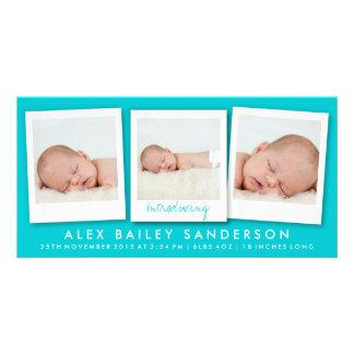 Cartão com fotos novo do anúncio do nascimento do