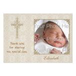Cartão com fotos religioso do creme Lace2 Convites Personalizados