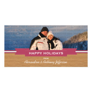 Cartão com fotos rústico cor-de-rosa do feriado da