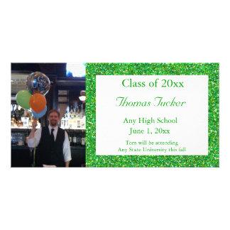 Cartão com fotos verde da graduação do brilho