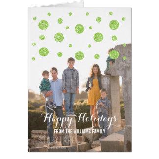 Cartão com fotos verde do feriado dos confetes do
