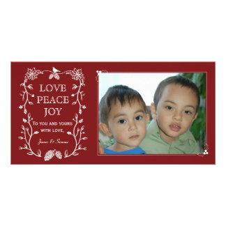 Cartão com fotos verde vermelho do feriado do cartão com foto