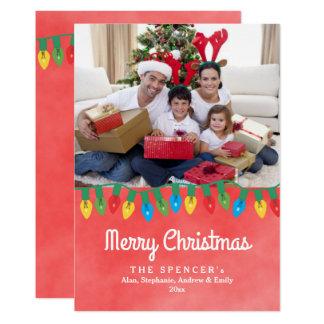 Cartão com fotos vermelho do feriado da aguarela convite 12.7 x 17.78cm