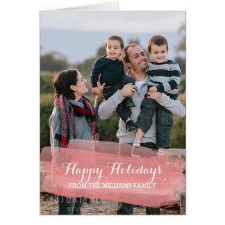 Cartão com fotos vermelho do feriado do