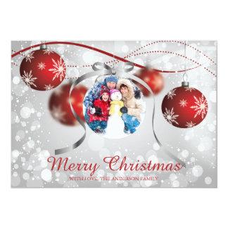 Cartão com fotos vermelho festivo do feriado do convite 12.7 x 17.78cm