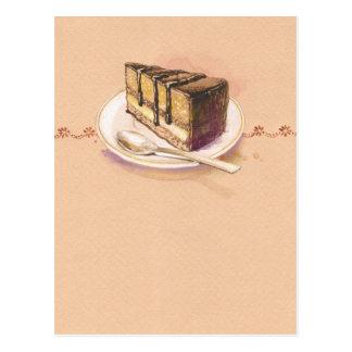 Cartão com o bolo pintado da aguarela cartão postal