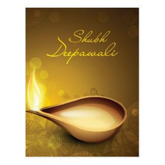 Cartão com o diya para o festival de Diwali Cartões Postais