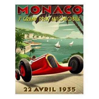 Cartão com o motor do vintage que compete o poster cartao postal