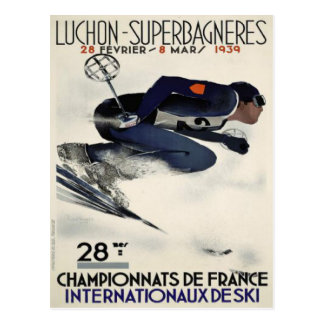 Cartão com o poster legal do esqui de France