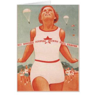 Cartão com propaganda de União Soviética do