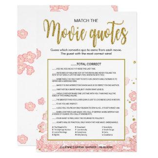 Cartão Combine o rosa do jogo | das citações do filme e o