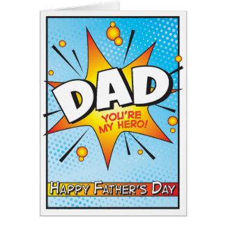Cartão cómico do dia dos pais do super-herói da