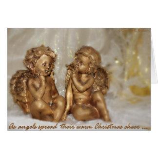 Cartão Como os anjos espalharam seu elogio morno do Natal