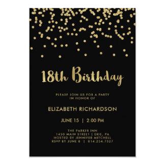 Cartão Confetes do ouro do falso festa de aniversário do