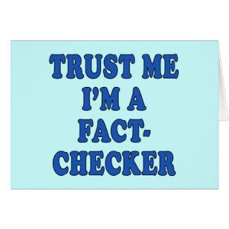 Cartão Confie-me, mim são um verificador do fato