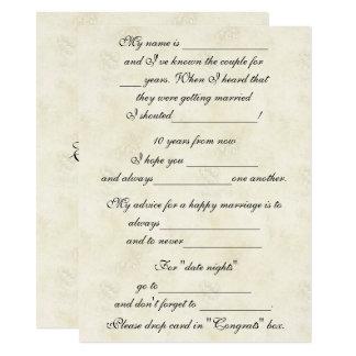 Cartão Conselho bonito, engraçado do casamento para a