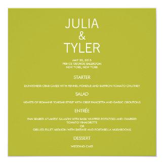 Cartão contemporâneo do menu do casamento convite quadrado 13.35 x 13.35cm