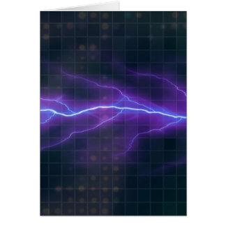 Cartão Contexto roxo da eletricidade do relâmpago