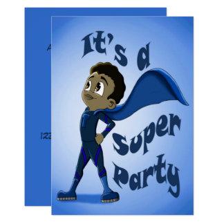 """Cartão """"Convite novo"""" 5"""" do aniversário do super-herói x"""