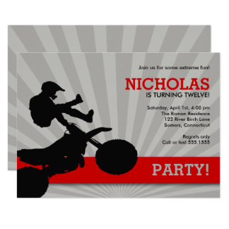 Cartão Convite, vermelho e preto de Dirtbike do motocross