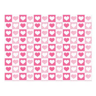 Cartão cor-de-rosa bonito dos corações cartão postal