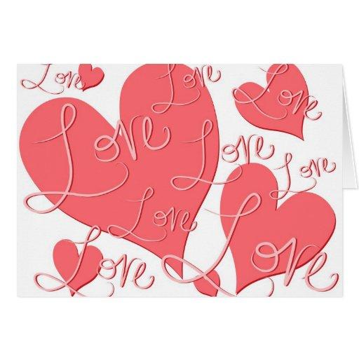 Cartão cor-de-rosa do amor dos corações do dia dos