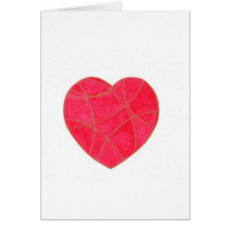 Cartão cor-de-rosa do coração