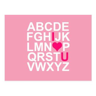 Cartão cor-de-rosa do coração eu te amo cartão postal