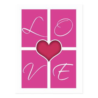 Cartão cor-de-rosa do dia dos namorados do coração cartões postais