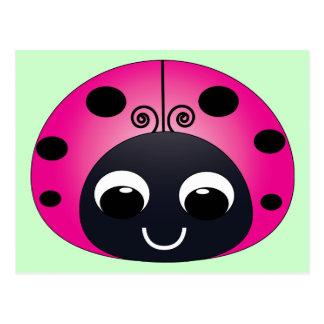 Cartão cor-de-rosa do joaninha cartoes postais