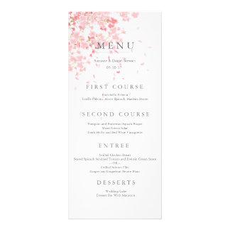 Cartão cor-de-rosa do menu do casamento da flor 10.16 x 22.86cm panfleto