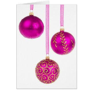Cartão cor-de-rosa do ornamento do Feliz Natal