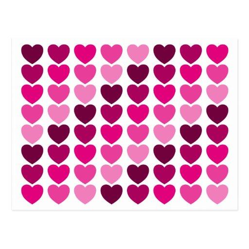 Cartão cor-de-rosa dos corações cartoes postais