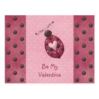 Cartão cor-de-rosa dos namorados do joaninha cartoes postais
