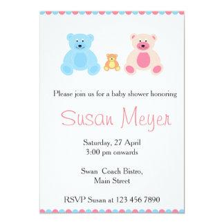 Cartão cor-de-rosa e azul do bebê da família do convite 12.7 x 17.78cm