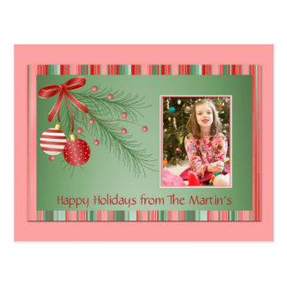 Cartão cor-de-rosa e verde da foto do Natal Cartão Postal