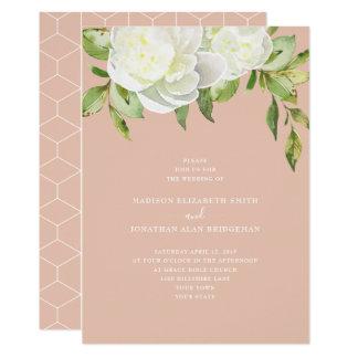 Cartão Cora o casamento floral da peônia do primavera