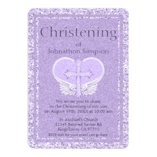 Cartão Coração da lavanda das asas do anjo do baptismo |