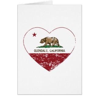 Cartão coração de glendale da bandeira de Califórnia