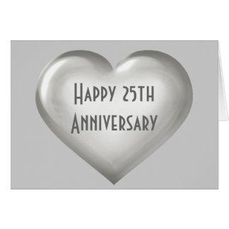 Cartão Coração de vidro de prata do 25o aniversário feliz
