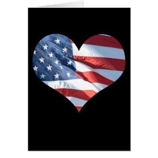 Cartão Coração patriótico bandeira americana dada forma