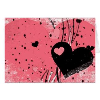 Cartão corações e dia dos namorados cor-de-rosa dos