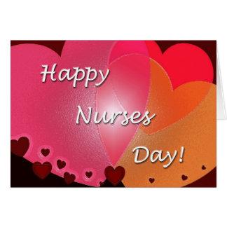 Cartão Corações felizes do dia das enfermeiras