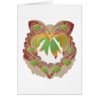 Cartão Corações pequenos do verde esmeralda: Grinalda