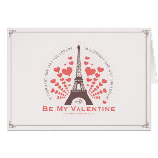 Cartão Corações vermelhos dos namorados da torre Eiffel